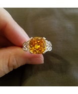 Faux Lemon Diamond Ring, size 10.25 cocktail ring, silver tone setting - $19.00