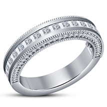 14k White Gold Plated 925 Silver Princess Cut Diamond Women's Wedding Band Ring - $73.99