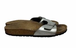 Women's Birkenstock Madrid Birko-Flor Slide Sandals Size 36 US 6 Silver - $34.95