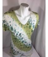 Gloria Vanderbilt Women Green White Flora Blouse V-neck Size S Bin56#44 - $13.10