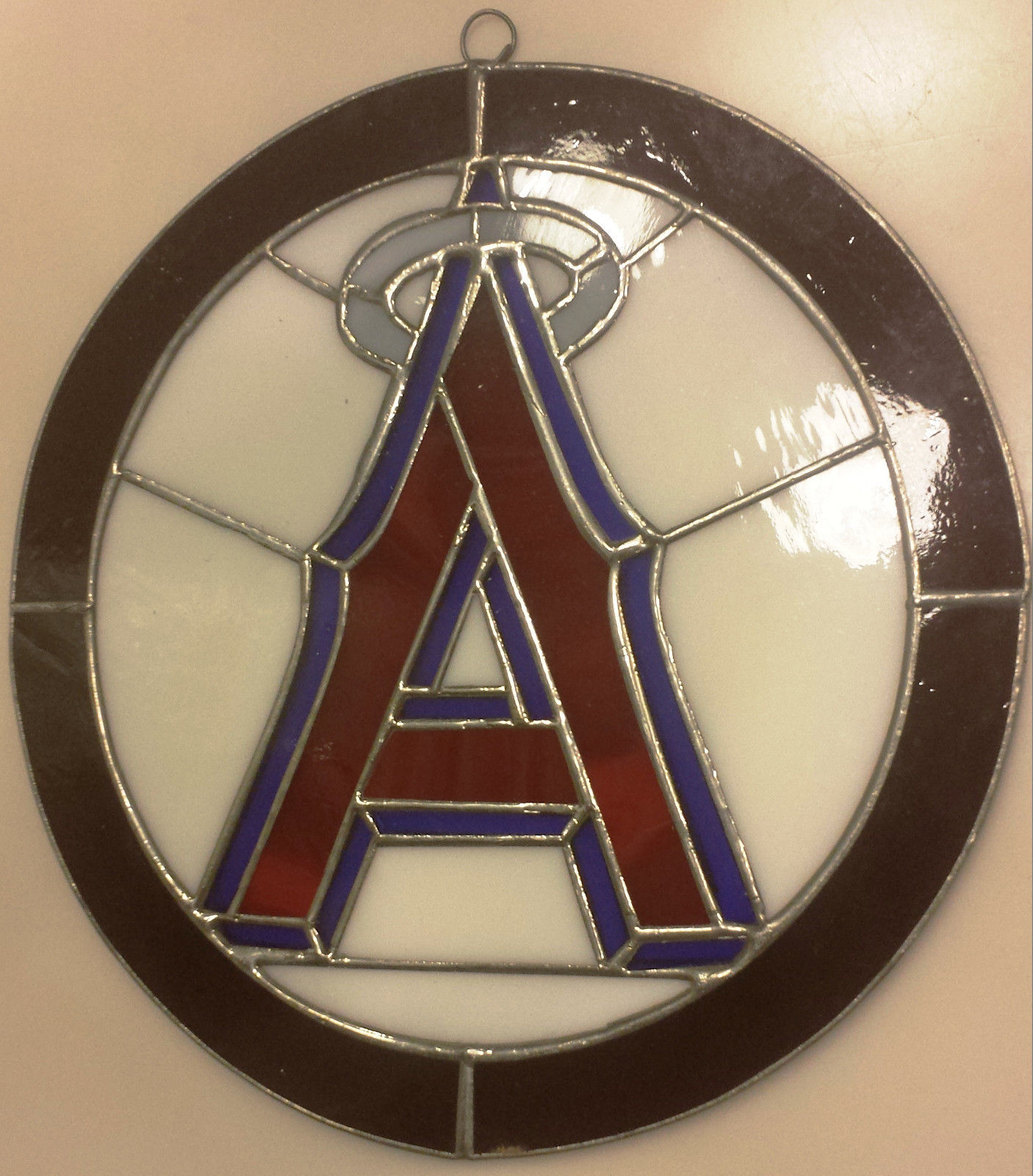 LA Angels Hand Made Stained Glass Wall Sign Mancave Outdoor Bar Decoration