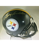 TERRY BRADSHAW / NFL HALL OF FAME / HAND SIGNED STEELERS LOGO MINI HELME... - $98.95