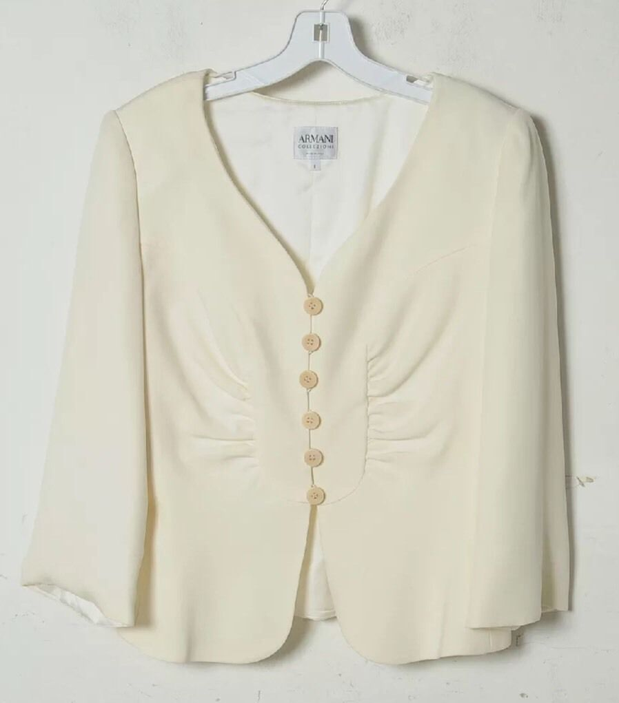 Armani Collezioni Ivory Silk Jacket Buttoned Lined Pleated Loose Sleeve