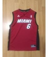 Adidas LeBron James #6 Miami Heat Jersey Youth Kids Large Authentic NBA - $18.80