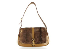 Authentic GUCCI Brown Pony Hair Leather Jackie Shoulder Bag Purse - $124.29