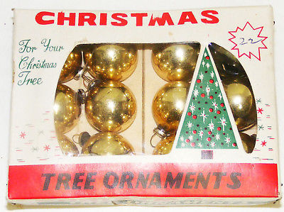 "Primary image for Vintage 1"" Small Glass Christmas Ornaments IOB # 8a - Japan"