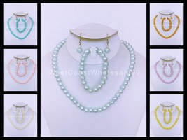 Faux Pearl Fashion Necklace/Earring & Bracelet Set Jewelry Wholesale 14 ... - $5.69
