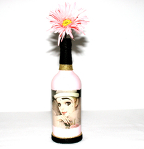 Pink Harlequin Doll Face Decorative Liquor Bottle Gift Handmade Home Dec... - $18.99