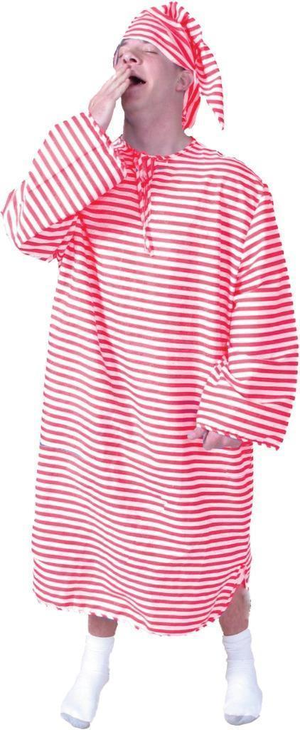 Nightshirt Cap Costume Adult Men Women Red White Striped Halloween Funny AC156