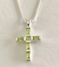 "925 Sterling Silver & Perdot 1"" Cross Pendant Necklace [PEN-247] - $19.80"
