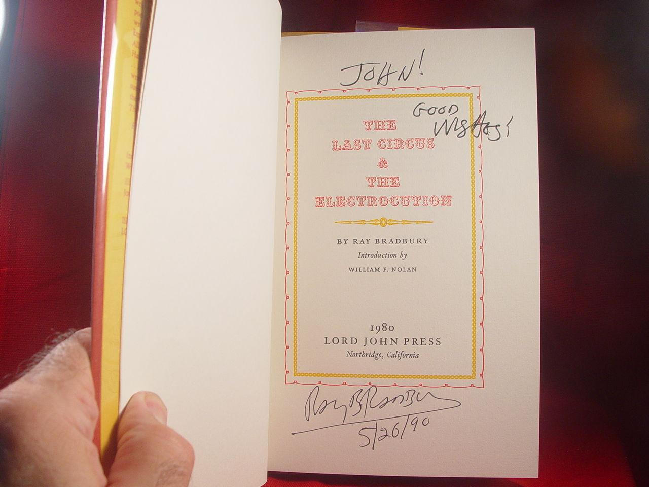 Ray Bradbury THE LAST CIRCUS & THE ELECTROCUTION - 1st trade edition /jacket