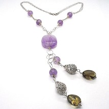 925 Silver Necklace, Amethyst Round and Rectangular, Smoky Quartz Oval, Pendant image 1