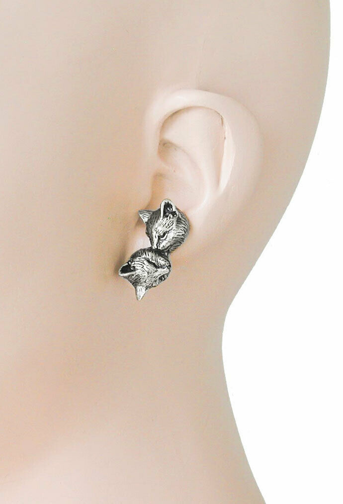 Primary image for Antique Silver tone Cat- Kitten Stud Earrings By Sweet Romance, Made in Usa