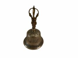 Vintage Antique Brass Ornate Hand Dinner Bell image 5