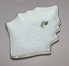 "9"" Home for the Holidays Holly Figural Christmas Candy Dish Ivory Embossed  - $8.86"