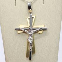PENDENTIF DOUBLE CROIX OR JAUNE BLANC 750 18K,AVEC LE CHRIST,BRILLANTE image 5
