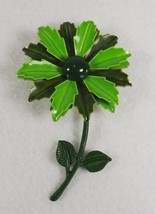 "Vintage Large 2 Tone Green Enamel Flower Pin 3 5/8"" Tall x 2 3/8"" Wide - $17.95"