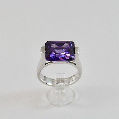 Ring aus Silber 925 Rhodium mit Kristall Violet von Kreuzförmige Rechteckig