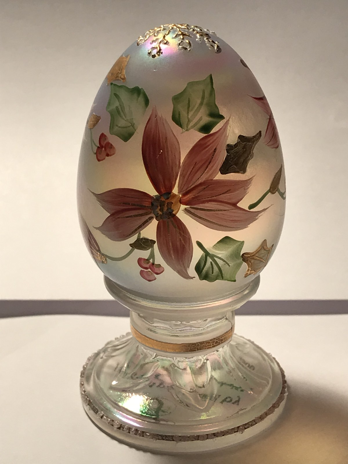 Fenton Glass Limited Edition Egg Opalescent with Christmas Poinsettias