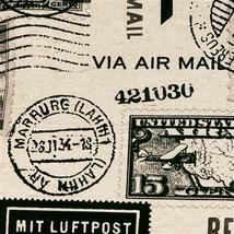 Pillow Decor - Vintage Postage Stamp Gray 22x22 Throw Pillow image 2