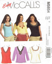 Pull Over Knit Tops Misses size XS-M McCalls 5854 Sewing Pattern - $7.91