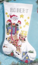 Bucilla Over the Rooftops Santa Quilt Stamped Cross Stitch Stocking Kit 83151 - $42.95