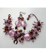 bracelet and earrings in pink - lilac - purple tones with horseshoe.   - $50.00