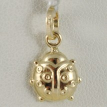 18K Yellow Gold Rounded Ladybug Pendant Charm 18MM Smooth Ladybird Made In Italy - $65.55