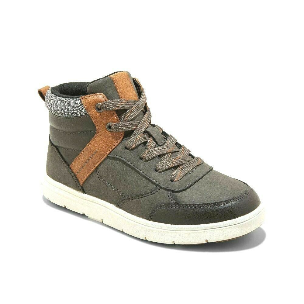 Cat & Jack Boys Charcoal Jerry Hi-Top Faux Leather Lace Up Sneakers Shoes 2 NWT
