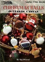 Christmas Balls in Plastic Canvas Santa Reindeer Penguin Angel Snowman - $5.50