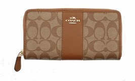 Coach Women'S Wallet Signature Pvc & Leather Zip Around F52859 - $182.31
