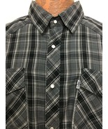 Levis Men XL Gray Plaid Snap-Front Cowboy Western Long-Sleeve Cotton Ble... - $35.77