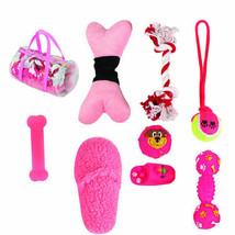 8 Piece Duffle Bag Pet Toy Set, One Size, Pink - $14.84