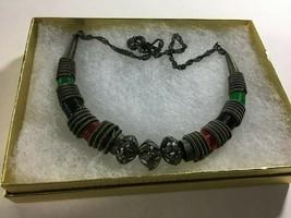 "Vintage 1980's Choker Necklace 16"" Pewter Color Spiral Twist Coil  - $14.60"