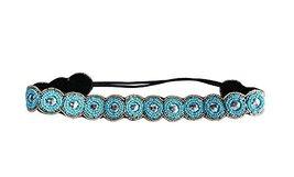 Hand-beaded Crystal Rhinestones Headband Headdress, Blue Beads