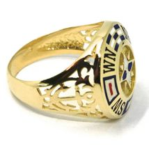 18K YELLOW GOLD BAND MAN RING, NAUTICAL ANCHOR, FLAGS, ENAMEL, COMPASS WIND ROSE image 3