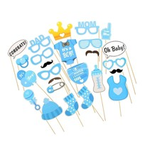 Baby Blue Photo Booth Props Boy DIY Kit for Baby Shower Mustache Nipple ... - £14.10 GBP