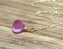 Pink Lavender Amethyst Gem Briolette Pendant 14K Yellow Gold Vermeil Br... - $39.59