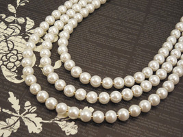 Three Strand, 8mm White Glass Pearl Necklace with Gold Plated Box Clasp - $47.00