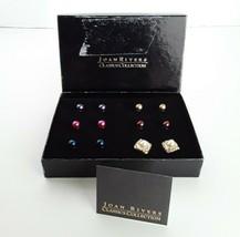 JOAN RIVERS Gold Tone Rhinestone Stud Pierced Earring 14 Piece Set EUC - $21.92