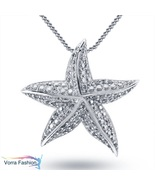Star Shape Women's Pendant W/ Chain Diamond White Gold Plated Pure 925 S... - £43.67 GBP
