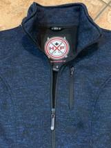 HFX HALIFAX S BLUE BLACK LUNA KNIT HEATHERED ZIP UP JACKET HIP LENGTH CO... - $32.85