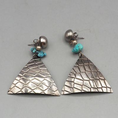 Vintage Silvertone Turquoise Dangle Earrings 1980's 1990's