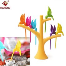 1Set Kitchen Gadget Bird Tree Birdie Fruit Fork 1 Stand+6 Forks Toothpic... - $8.63 CAD