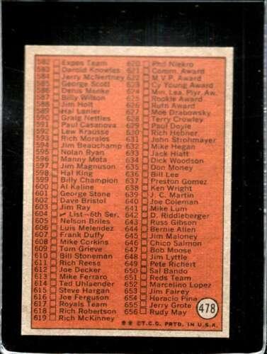 1972 TOPPS #478 CHECKLIST 526-656 VG+  *X01263