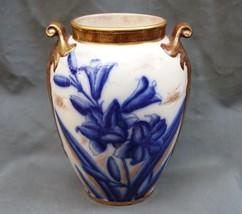 William Alsager Adderley Lily Vase 19th C English Flow Blue & Gold Urn P... - $149.99