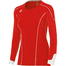 X-Small ASICS Women's Domain II Jersey Volleyball Athletic Long Sleeve Red NEW