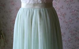 LIGHT GREEN Full Length Maxi Tulle Skirt Green Wedding Bridesmaid Tulle Skirts image 5