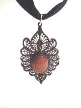 Vintage Yemenite 925 Sterling Silver Genuine Gold Stone Pendant Choker - $94.05