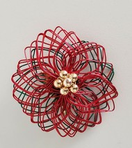 Poinsettia Brooch Wire Red Green Flower Pin Handmade - $9.99